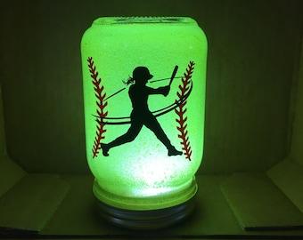 Softball Gift, Girls Softball Gifts, Softball Night Light, Softball Decor, Glittered Mason Jar Light, Swing For theFences