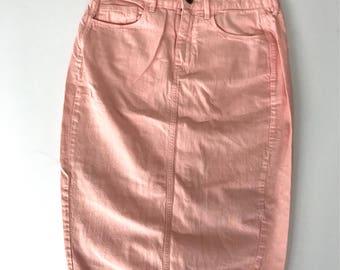Vintage Long Pink Denim Skirt, Size 28