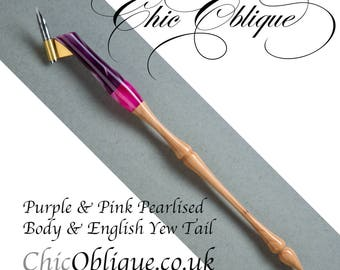 Oblique pen holder, Purple and Pink resin with English Yew Tail