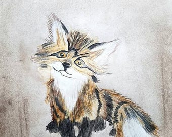 SALE BABY FOX Soft Pastels Colored Pencil Sketched Abstract Wildlife Cabin Lodge Home Decor Art By Scott D Van Osdol 9x12 Paper Ready To Fra