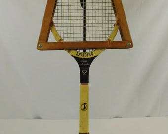 Vintage Wood Wooden Tennis Racket Spalding Pancho Gonzales Signature Series with Wood Frame Guard Sports Memorabilia Tennis Decor Man Cave
