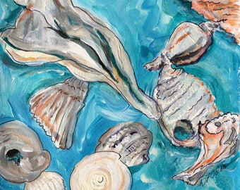 Found Shells II, Print of Original Acrylic Ocean Shell Painting