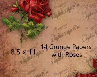 SALE Rose Digital Grunge Paper, Rose Digital Grunge Paper with Roses, 14 Grunge Textures, Scrapbook Supplies, Red Roses, Burlap Textures, P