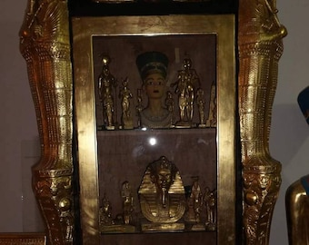 Unique Large Hand Carved Egyptian Glass Corner Cabinet Made In Egypt