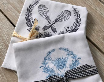Embroidered tea towels, cotton tea towels, kitchen towels, plain weave cotton tea towels