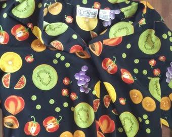 90s Fruit Print Button Up Blouse