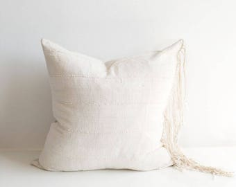 "Cream Fringe Mudcloth Pillow + Insert | 24"" x 24"""