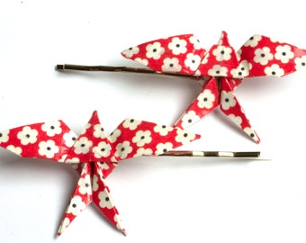 Swallow Origami Hair Clips - Red Flower Pattern - 2pcs
