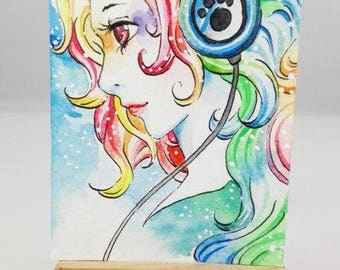 Original watercolor ACEO cocoa card multi colored girl with headphones fantasy portrait autographed