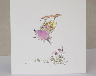 Fairy Card, Fairy Swing Blank Greeting Card