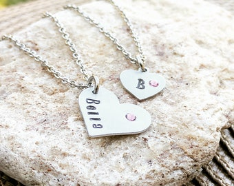 Mother daughter gift,  Mother daughter, necklace set, Mom and me gift, Mom and me jewelry, Heart silver, necklace, Heart necklace, silver