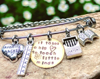 Teacher Jewelry, Teacher bracelet, Teacher bangle, Teacher gifts, Charm bracelet, Gift for teacher, Teacher, appreciation gifts