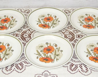 Vintage Mid Century 1960s Meakin Part Teaset Poppy Pattern 6 x Side Tea Plates