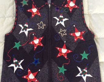 Santa Star Ugly Christmas Sweater Vest - XL (V-25)