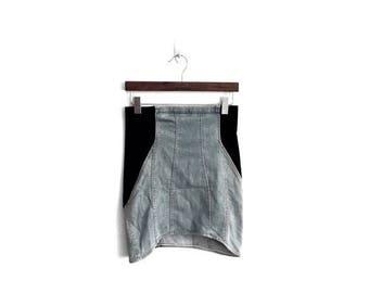 "25% DROP RARE!! Vintage HELMUT Lang Size 4 Made in Usa Denim Skirt Waist 28""x19.5""Rare Rick Owens Raf Simons Maison Martin Margiela Thom Bro"