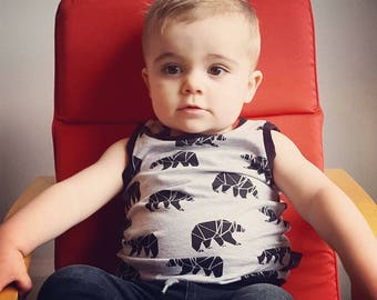 Camisole (tank top), for baby and child, * geometric bear