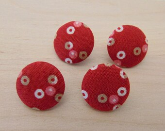 4 x buttons 19mm red round TOUR13 fabric