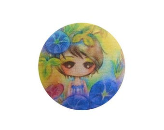 1 cabochon 22mm x 2 BOUT11 flowers girl fabric
