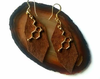 Serotonin Earrings Molecular Structure Chemistry Science Scientist 14k Gold Leather Suede Brown