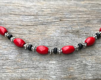 Stacker Bracelet Add 0n, Boho Bracelet, Layering Bracelet, Changeable Bracelet, Beaded Bracelet, Mix and Match Bracelet, Red Black Bracelet