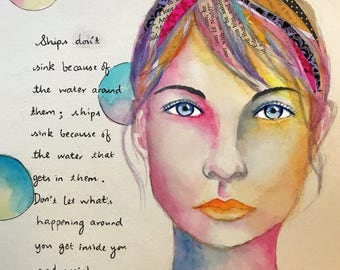 Gift for her, inspirational art, Watercolor painting, mixed media print, giclee, home decor, wall art, art print