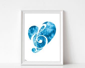 Music art, poster music, treble clef art, watercolor music, birthday gift, wedding gift, fine art