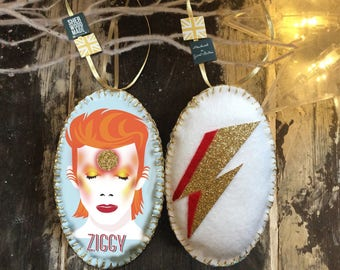 Ziggy Stardust David Bowie Christmas Hanging Decoration Ornament Unique GlamRock Flash Aladdin Sane Gift Tag Idea Music