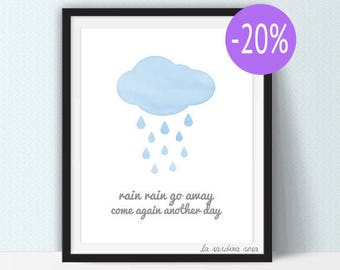 SALE Blue clouds nursery print, Rain rain go away, Baby boy nursery decor, Watercolor clouds, Scandinavian print, Nursery printable #0011B