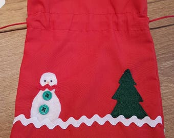 Snowman drawstring bags