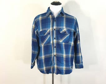 70's vintage cotton flannel shirt button up made in usa