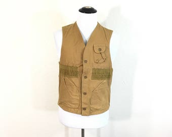 70's vintage blue bill all cotton canvas hunting vest patche pocket