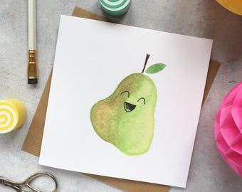 Happy Pear - best friend, cute fruit, cheer up, mental health, positivity, congratulations, greeting card