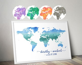 Custom wedding guest book alternative -  World map print - wedding world map guestbook - travel wedding guestbook Watercolor world guestbook