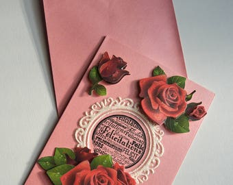 "Carte double avec son enveloppe ""Félicitation"" rose"
