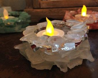 Beach Sea Glass and Mirror Candle Holder  #78 Home Cabana Decor  Beach Glass
