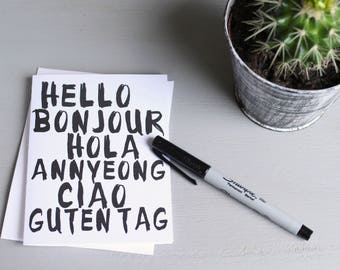 Hello Notecard Card A2 Global Travel Languages Bonjour Hola Annyeong Ciao Guten Tag