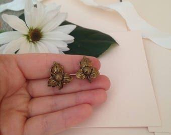 Antique Floral Earrings - Wedding Earrings - Bridal Earrings - BOHO - Vintage Bride - Bronze Earrings - Coppers Earrings - Flower Earrings