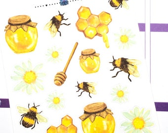 Honey Bee Deco | Planner Stickers, Weekly Kit, bee deco, fall Weekly Kit, bee weekly kit, Vertical Planner Kit, Full Weekly Kit, bee sticker