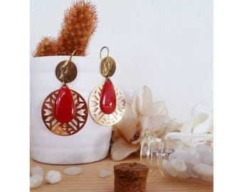 LYSE ▷ Earrings: drop & Aztec style red!