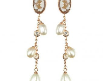 Pearl Crystal Vermeil romantic Napoleon III Antique cameo earrings
