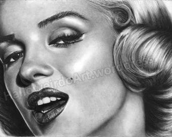 Marilyn Monroe Charcoal Drawing - PRINT