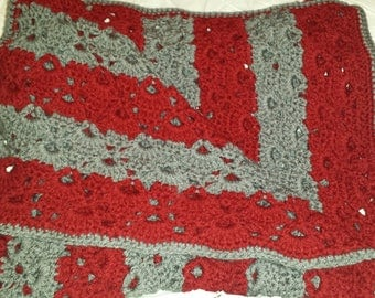 Hand-made red and gray striped, crochet baby blanket