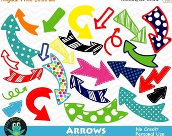 75% OFF SALE Arrows Clipart, Polka Dot Arrows, Arrow Doodles, Commercial Use - UZ819