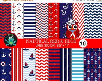 75% OFF SALE Nautical Digital Paper, Commercial Use, Nautical Papers,  Scrapbook Papers, Background - UZ614