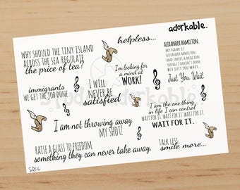 Hamilton Quotes Large Glossy Stickers / SQ216