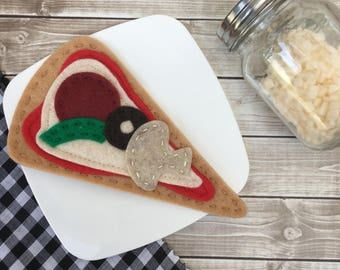 play food pizza, felt food pizza slice, dramatic play, felt play food, pizza slice, play kitchen food