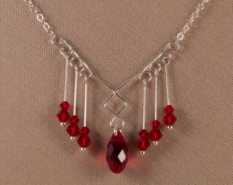 Art nouveau-inspired sterling silver and Swarovski crystal necklace