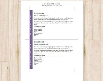 4x6 Purple Recipe Cards - Modern Printable Recipe Cards, Card Recipe - Recipe Card Template - MS Word *Instant Download*