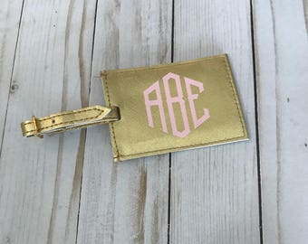 Monogrammed Gold luggage tag, Personalized Gold luggage tag