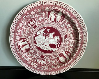 """Spode Traditions Series Greek Red 12"""" Chop Plate or Round Serving Tray"""